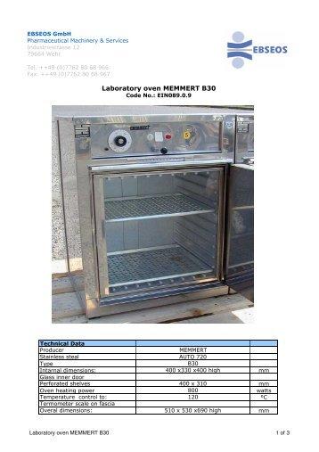 EIN08909 Lab oven MEMMERT B30r eng - Ebseos Gmbh