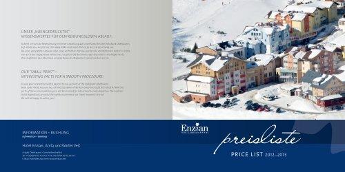 Preisliste - Hotel Enzian