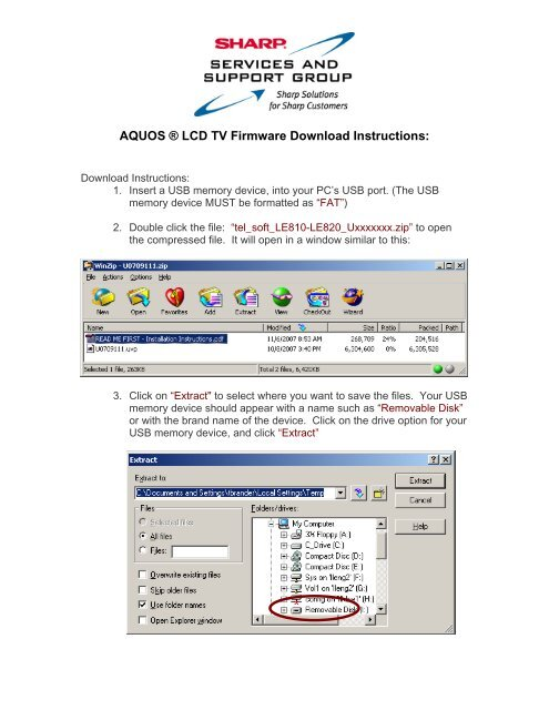 AQUOS ® LCD TV Firmware Download Instructions: - Sharp