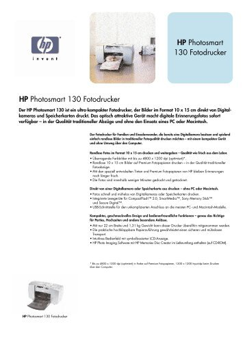HP Photosmart 130 Fotodrucker HP Photosmart ... - AH Info Systeme