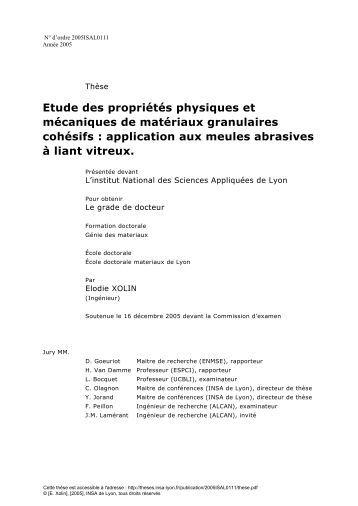 Etude des propriétés physiques et mécaniques de matériaux ...