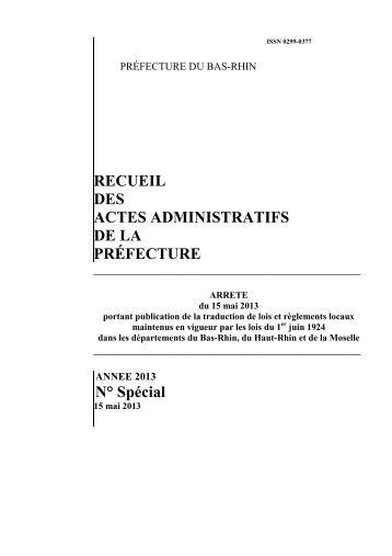 Recueil spécial DROIT LOCAL du 15 mai 2013 - publication traduction lois et règlements locaux maintenus en vigueur par les lois du 1er juin 1924