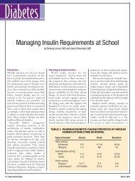 Managing Insulin Requirements at School - School Nurse News