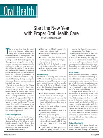 Start the New Year with Proper Oral Health Care - School Nurse News