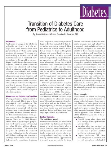 Transition of Diabetes Care from Pediatrics to Adulthood