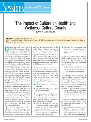 The Impact of Culture on Health and Wellness: Culture Counts