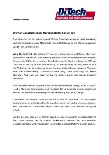 Werner Dauschek neuer Marketingleiter bei DiTech