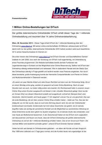 1 Million Online-Bestellungen bei DiTech