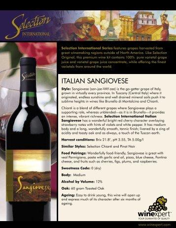 3854 Italian Sangiovese SellSheet.indd - LD Carlson Co.