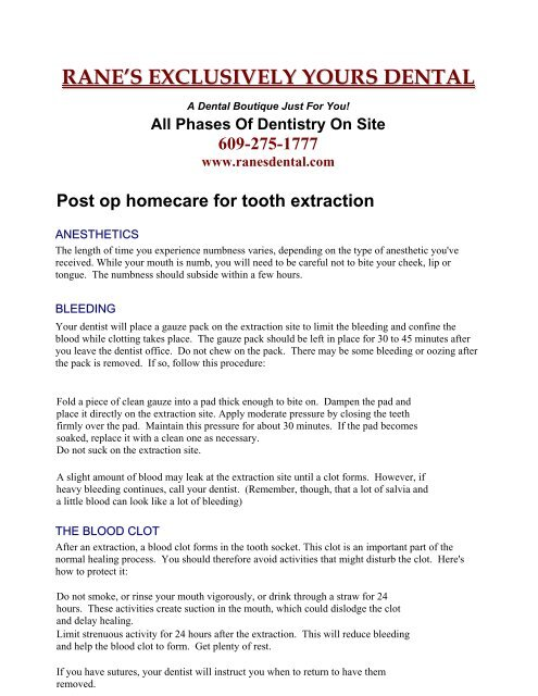 Post op homecare for tooth extraction - Ranes Exclusively Yours