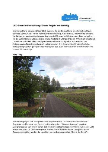 Energiestadt Moosseedorf 2013, LED Beleuchtung - Scherer Licht AG