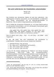 Die acht Leitkriterien der Krankheiten ... - TCM-Institut Köln