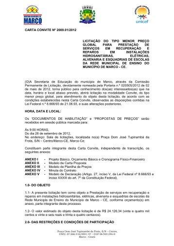 Edital CC 2009.01-2012 - Prestação de serviços em ... - TCM-CE
