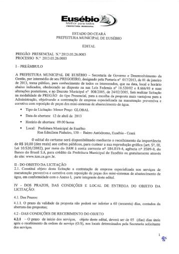 Edital Pregão PResencial nº 2013.03.26.0003 - TCM-CE