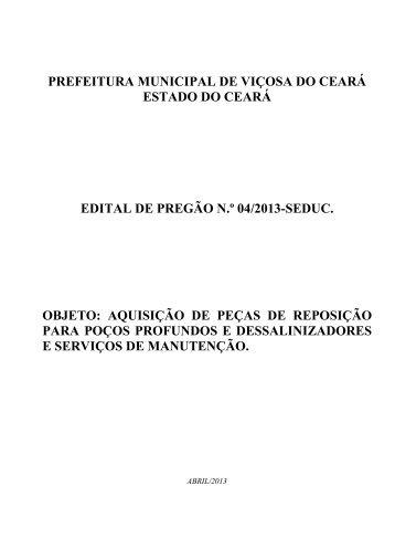 EDITAL DE PREGÃO 04-2013-SEDUC AQUIS PEÇAS ... - TCM-CE