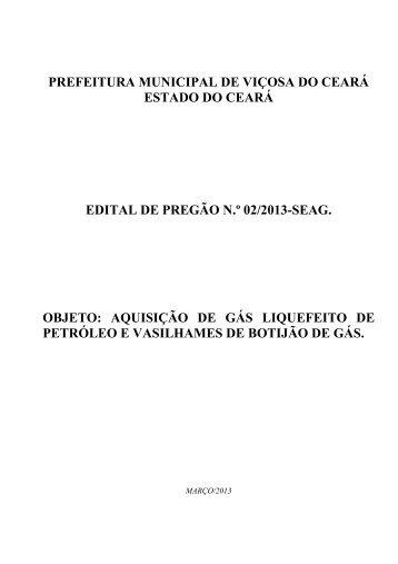 edital de pregão 02-2013-seag aquis glp e botijão - TCM-CE