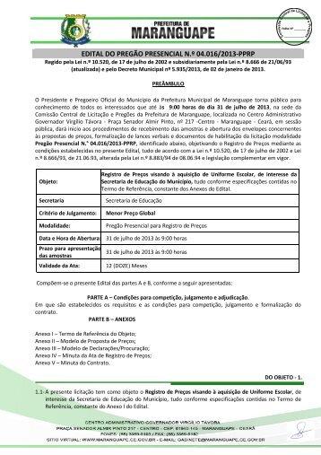 MINUTA DO EDITAL DO PREGÃO PRESENCIAL N - TCM-CE