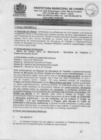 PREFEITURA MUNICIPAL DE cHoRó , - TCM-CE