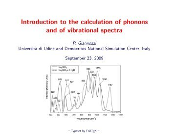 Introduction to the calculation of phonons and of vibrational spectra