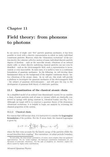 Field theory: from phonons to photons - Theory of Condensed Matter