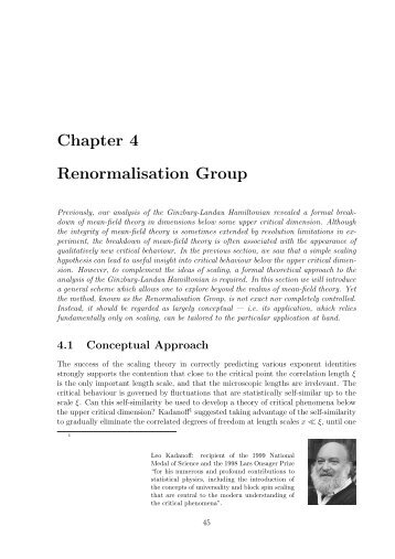 Chapter 4 Renormalisation Group - Theory of Condensed Matter