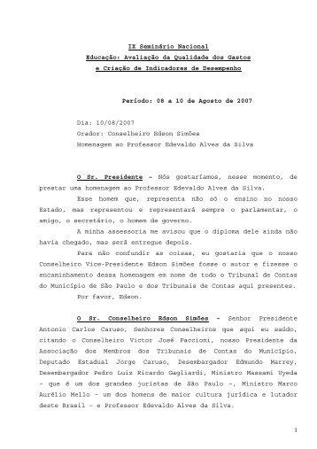 Homenagem ao Professor Edevaldo Alves da Silva - Tribunal de ...