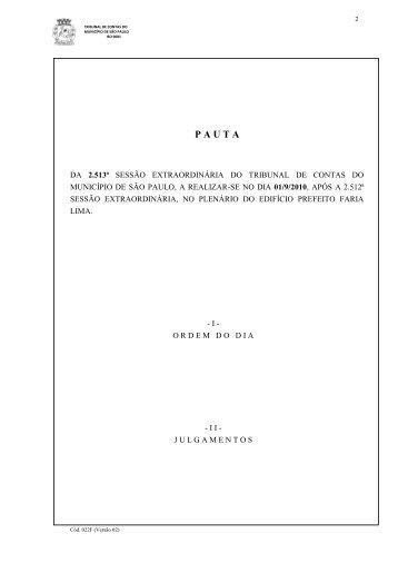 P A U T A - Tribunal de Contas do Município de São Paulo
