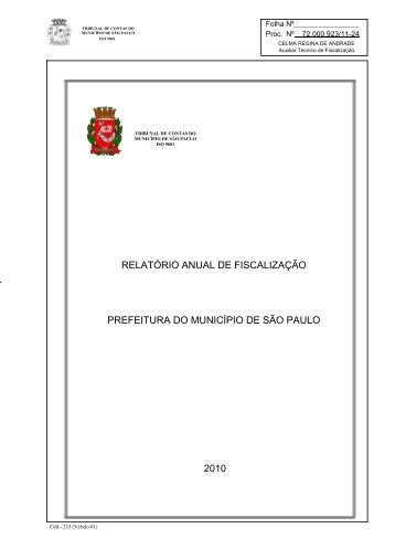 Relatório Anual de Fiscalização - Tribunal de Contas do Município ...