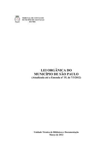 LEI ORGÂNICA DO MUNICÍPIO DE SÃO PAULO - Tribunal de ...