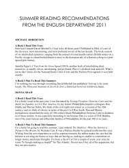 summer reading recommendations from the english department 2011
