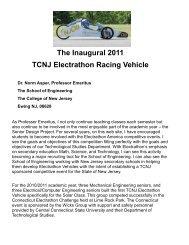 The Inaugural 2011 TCNJ Electrathon Racing Vehicle