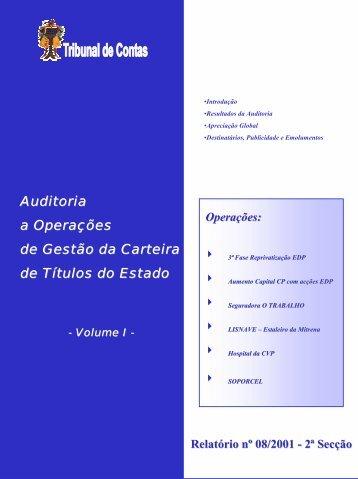 Relatório de Auditoria nº 8/2001 - 2ª Secção - Tribunal de Contas
