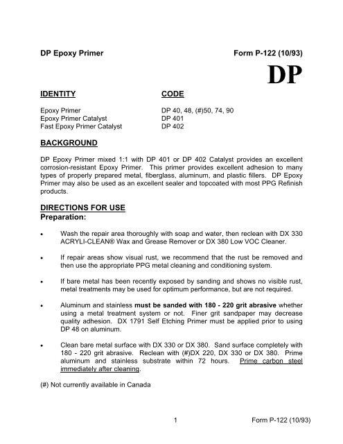 DP Epoxy Primer Form P-122 (10/93) IDENTITY CODE     - TCP Global