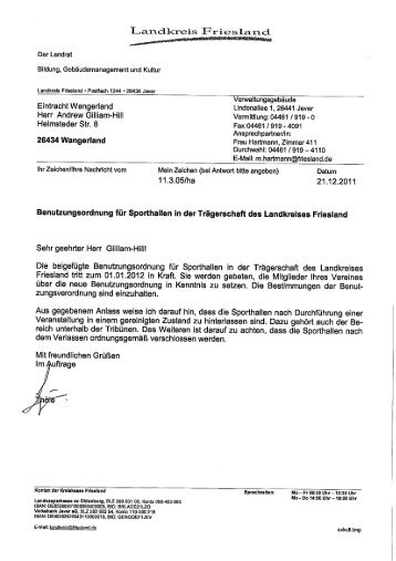 Hallenbenutzungsordnung im Landkreis Friesland - Eintracht ...