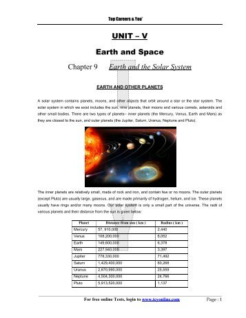 UNIT – V Earth and Space Chapter 9 Earth and the ... - TCYonline.com
