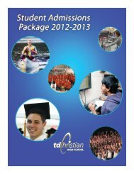 student admission application - Toronto District Christian High School