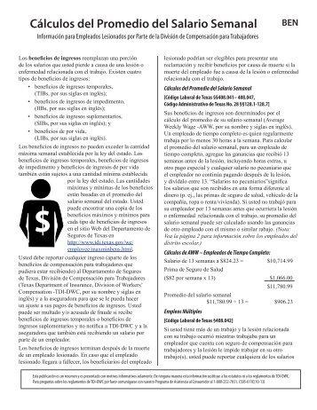 Cálculos del Promedio del Salario Semanal - Texas Department of ...
