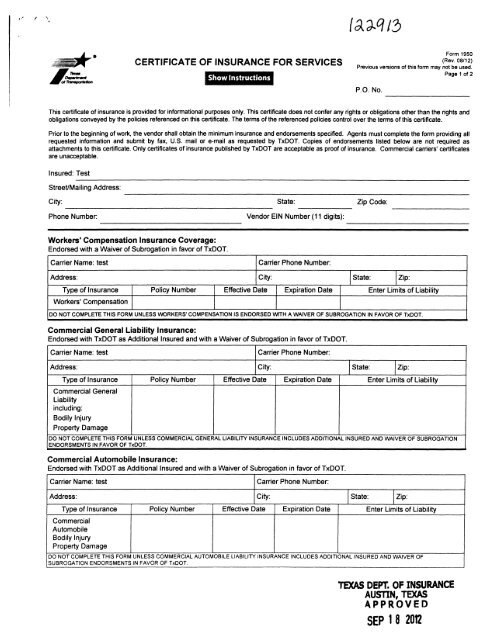 Txdot Certificate Of Insurance For Services And Instructions