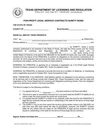 Form #006 SCP, Service Contract Provider Surety Bond - Texas ...