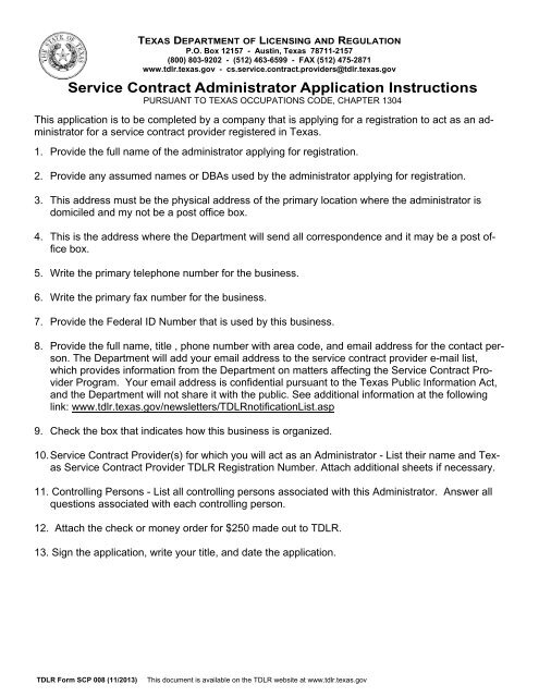 Service Contract Administrator Registration Application