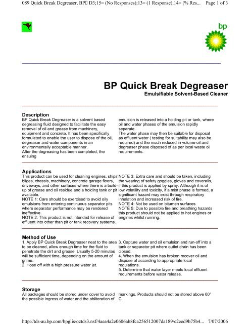 Bp Quick Break Degreaser Castrol Tds
