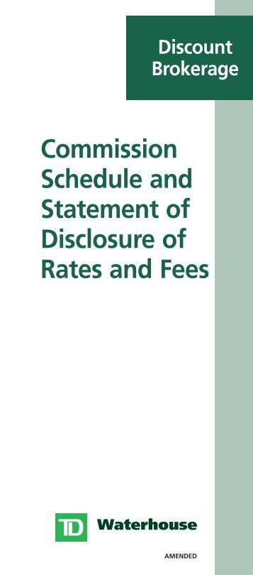 Commission Schedule and Statement of ... - TD Waterhouse