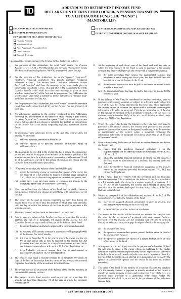 Addendum To Retirement Income Fund Declaration Td Waterhouse