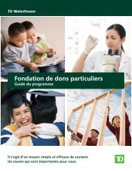 Fondation de dons particuliers (seulement) - TD Waterhouse