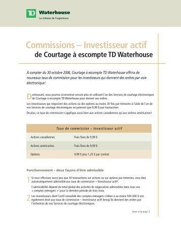 Commissions – Investisseur actif - TD Waterhouse