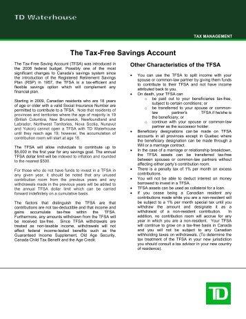 The Tax-Free Savings Account - TD Waterhouse
