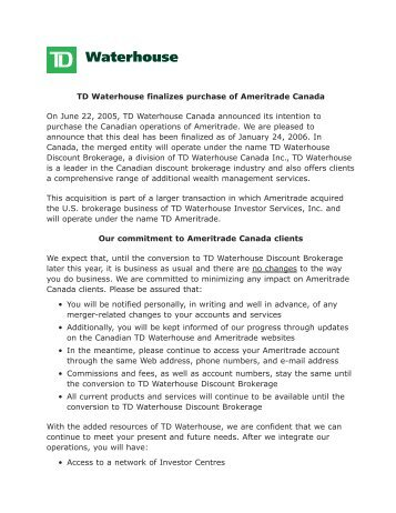 TD Waterhouse finalizes purchase of Ameritrade Canada