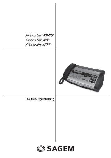 Sagem Bedienungsanleitung Phonefax 43/47 - auf den ...