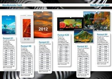 Wandkalender hoch Wandkalender quer Format K3 Format K1 ...