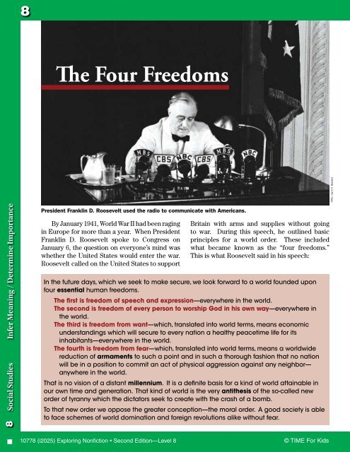 The Four Freedoms - Teacher Created Materials